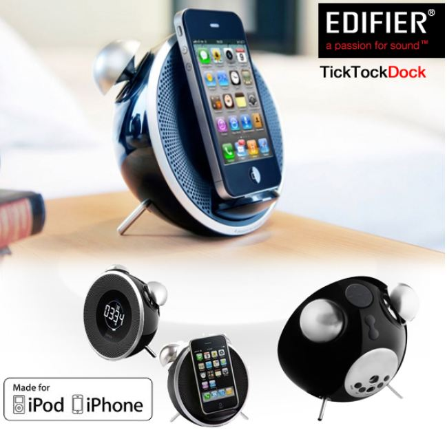 [iBOOD] Docking Station: Edifier Black mit Tick Tock Alarm für iPhone inkl. Versand 25,90€
