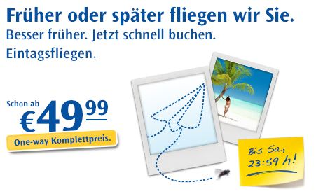 [Condor] Eintagsfliegen: Viele Strecken wieder nur 49€ inkl. Steuern & Gebühren!