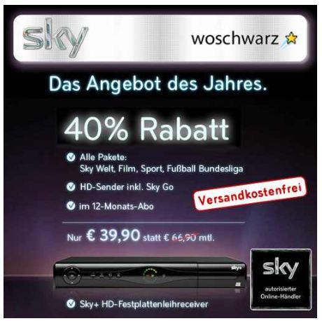[ebay] Sky komplett: inkl. HD, Sky Go und Festplattenreceiver für 39,90€ monatlich!
