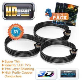 [iBOOD] HDMI 1.4 Kabel: 3er Set HDGear super dünn, je 2m mit 10,2 Gbit/sec Datenrate, inkl. Versand 22,90€