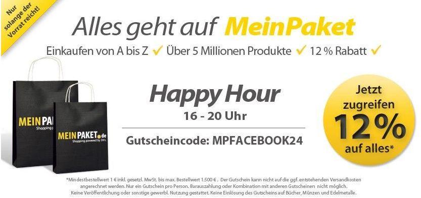 [MeinPaket] Update: Wieder da! Happy Hour   12% Rabatt Gutschein, bis max. 20Uhr!