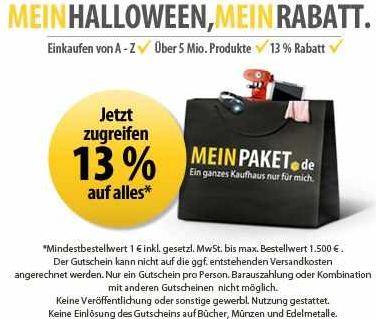 [MeinPaket] Halloween Gutschein! 13% Rabatt auf (fast) Alles!