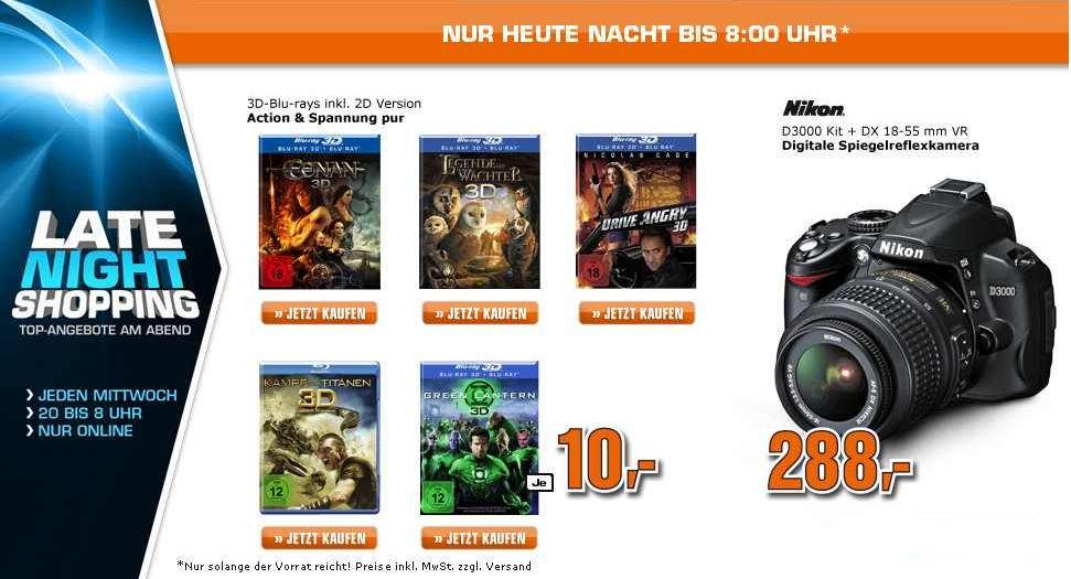 [Saturn Late Night Shopping] Bis Morgen früh! SLR Kamera: Nikon D3000  + 18 55mm VR Objektiv, 288€ und diverse 3D Blu rays!!