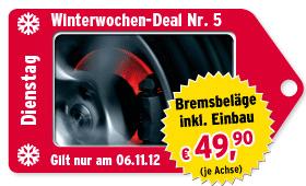 [A.T.U.] Winterwochen Deal: Bremsbeläge inkl. Einbau für 49,99€ je Achse