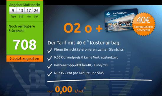 [Crash Tarife] o2 Vertrag für 0,15€ mit 40€ Tankgutschein