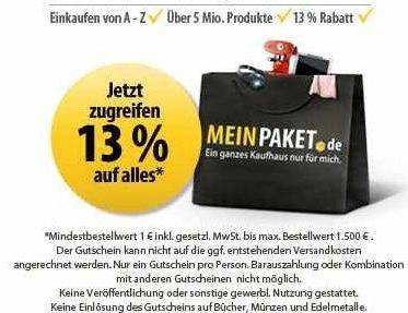 [MeinPaket] email Gutschein über 13% Rabatt auf (fast) Alles!