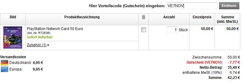 [voelkner.de] Wieder möglich! PSN Card 50€ für nur 42,23€ dank Gutscheincode!