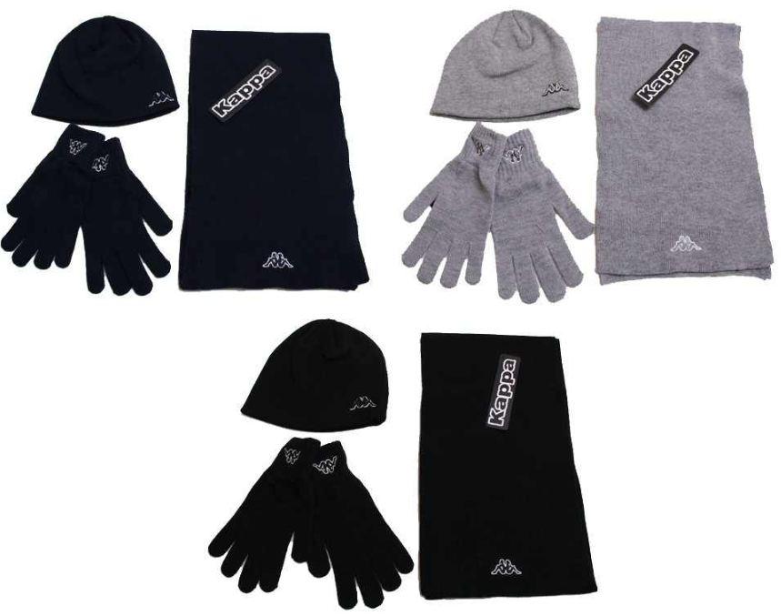 Winterset: Kappa Beanie, Schal und Handschuhe in Navy oder Grau für 11,99€