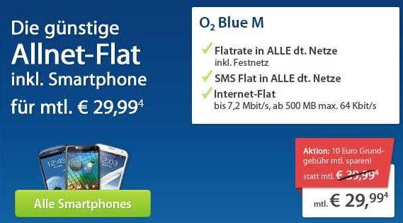 [Update] Wieder da! O² Blue M (Telefon , SMS  und Internetflat) inkl. günstiges Handy nur 29,99€ monatl.