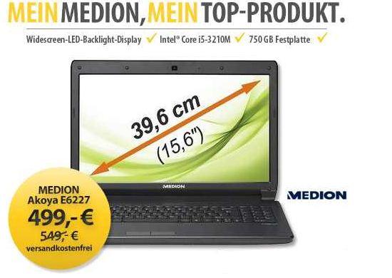 [MeinPaket] 15,6 Notebook: Medion Akoya E6227 (i5 und 6GB Speicher sowie 750GB Festplatte) inkl. Versand 449,10€
