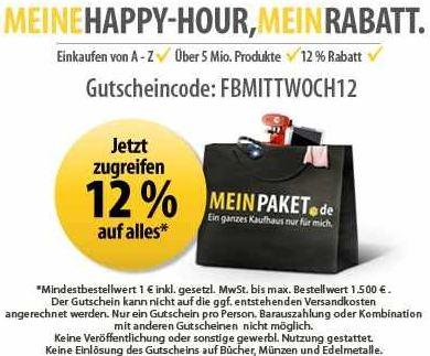 [MeinPaket] Nur bis 14.30Uhr Gutschein über 12% Rabatt auf (fast) Alles!