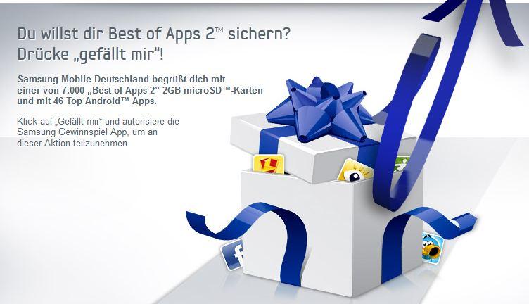 [Gratis] Schnell sein! Wieder da: SAMSUNG verschenkt über Facebook 2GB micro SD Karten mit verschiedenen Apps!