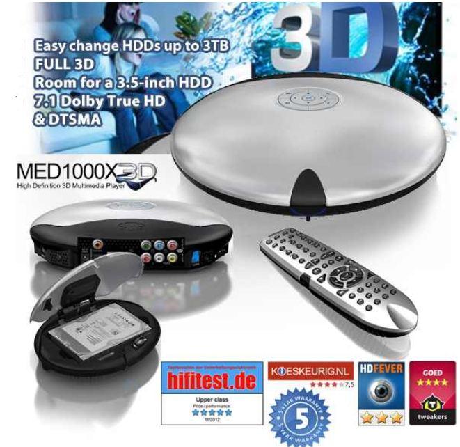 [iBOOD] 3D Multimedia Player: Mede8er MED1000X3D (3D, True HD, HDMI, USB 3.0) inkl. Versand 155,90€