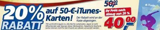 iTunes: Ab Montag bis Samstag kostet die 50€ Karte bei Real nur 40€!
