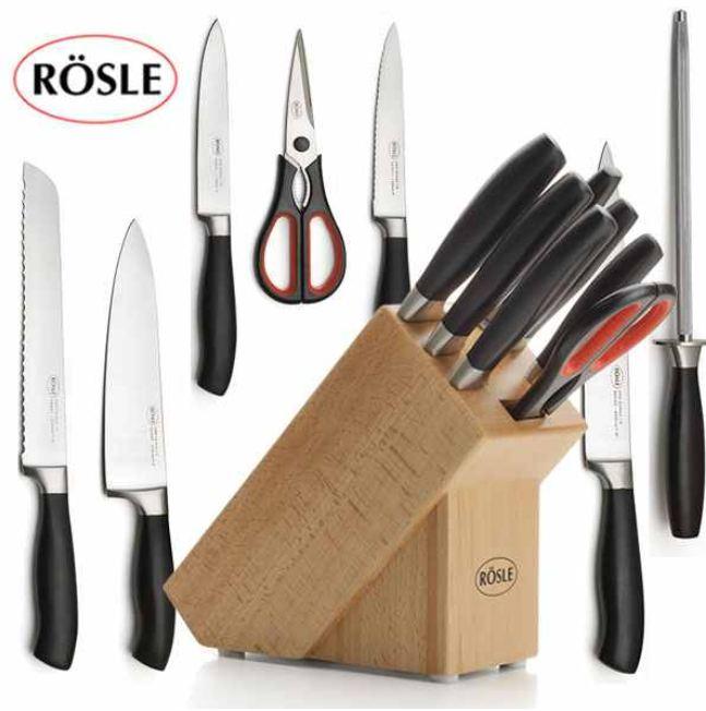 [iBOOD] Messerblock: Rösle 7 teilig mit Messern, Schere und Wetzstahl, inkl. Versand 55,90€