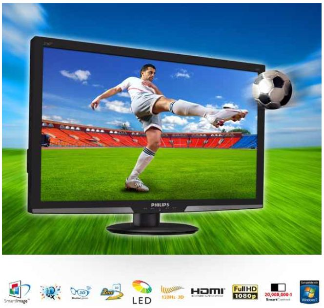 [iBOOD] Philips 27er 3D Monitor (16:9 FullHD analog digital HDMI 2msec.) inkl. Versand 258,90€