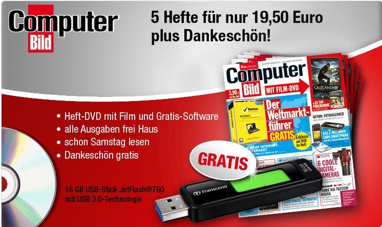 [Mini Abo] 5 Ausgaben COMPUTER BILD (inkl. DVD) + 16 GB JetFlash USB 3.0 Stick nur 19,50€
