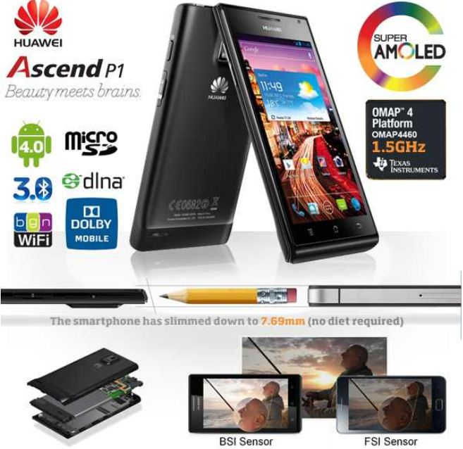 [iBOOD] Android 4 Smartphone: Huawei Ascend P1 mit Super AMOLED Display inkl. Versand 299,98€