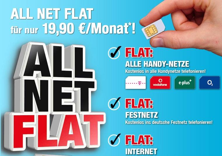 Allnet Flat nur 19,90€/Monat! (Die ersten 4 Monate umsonst!)