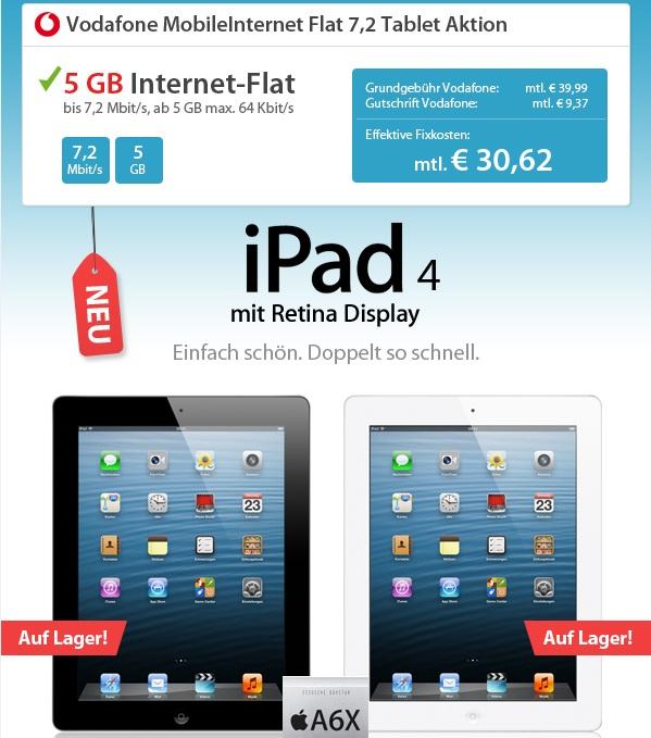 [Sparhandy] Wieder da! Das neue iPad (16GB Retina Display 4G) nur 1€ und mit 5 GB Vodafone Vertrag für monatl. 30,62€!