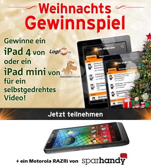 [Die Gewinner!] Mein Deal Xmas Gewinnspiel – iPad 4 & iPad Mini + Motorola RARZRI gewinnen für selbstgedrehtes Video