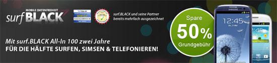 [hgwg] 50% sparen: Samsung Galaxy S3 im surf.BLACK All in 100 Tarif