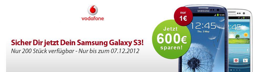[hgwg] Neue Aktion mit Samsung S3 für nur 1€ und Vodafone RED S bei 180€ Cashback*