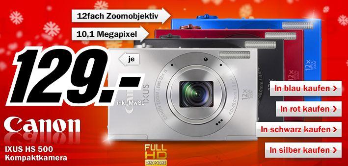 [MediaMarkt] Nur diese Nacht: Canon IXUS 500 HS Digitalkamera (10,1 Megapixel, 12 x. Zoom) 129€!
