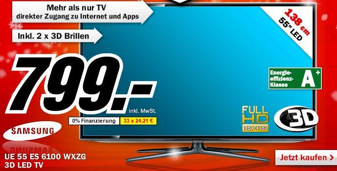 [MediaMarkt] Knaller! Nur diese Nacht: 55er 3D TV, Samsung UE55ES6100 138 cm nur 799€ (Vergleich 988€)!)