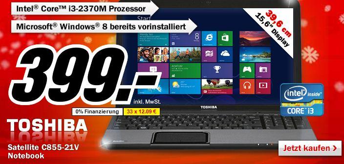 [MediaMarkt] Nur diese Nacht: Notebook Toshiba C855 21V, nur 399€! (Vergleich 465)
