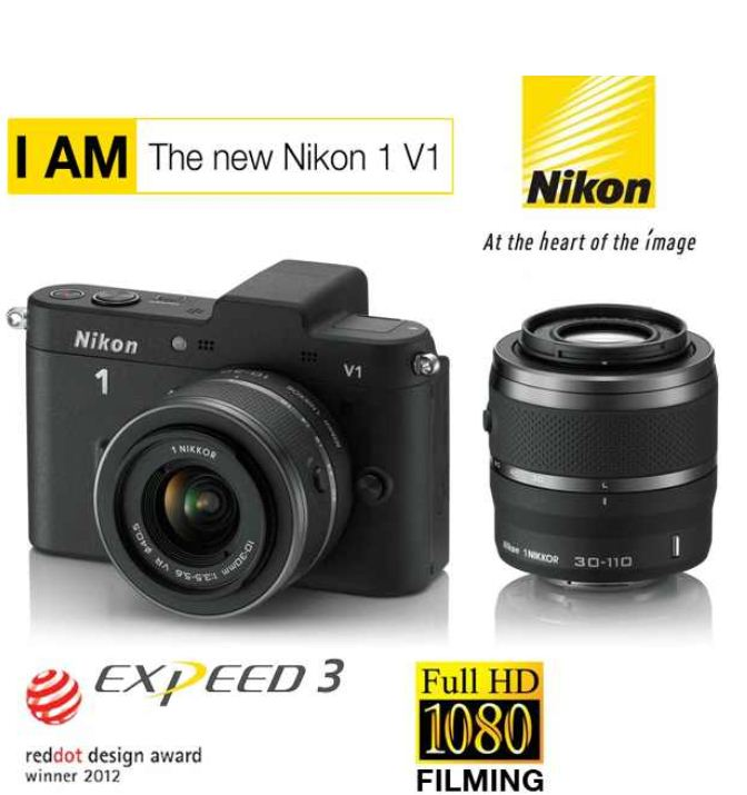 [iBOOD] 10MP Systemkamera: Nikon 1 V1 Set mit 10 30 mm und 30 110 mm Objektiv inkl. Versand 405,90€ (Vergleich 499€)