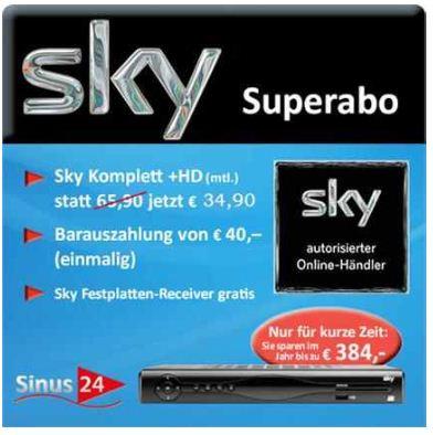Sky komplett: inkl. HD, Sky Go und Festplattenreceiver für 34,90€ monatlich