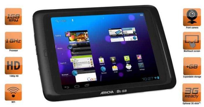 [ebay Wow] 8er Android 4.0 Tablet: ARCHOS ARNOVA 8b G3 Tablet (8GB, 20.3cm, 1GB RAM, 1GHz) inkl. Versand für 89€