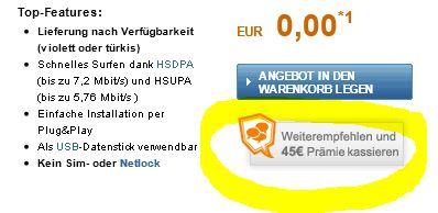 [Wieder da!] o2 Go – UMTS Flat ohne Mindestvertragslaufzeit mit kostenlosen UMTS Stick+ 30€ Gewinn durch Bargeldprämie
