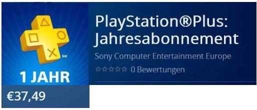 [Sony Store] PlayStation Plus Live Card (1 Jahr) für nur 37€
