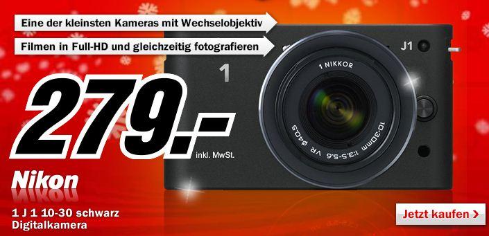 [MediaMarkt] Nur diese Nacht! Nikon 1J1 Systemkamera 10 Megapixel, inkl. 1 NIKKOR 10 mm Pancake Objektiv nur 279€