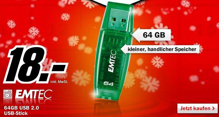 [MediaMarkt] Nur diese Nacht! Emtec C400 64GB Speicherstick USB 2.0 grün für 18€
