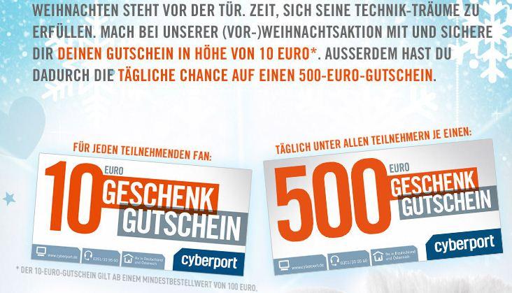 [Cyberport] Heute ab 09 Uhr: 40€ Gutschein im Wert von 50€ kaufen (max 6 Stk.)!