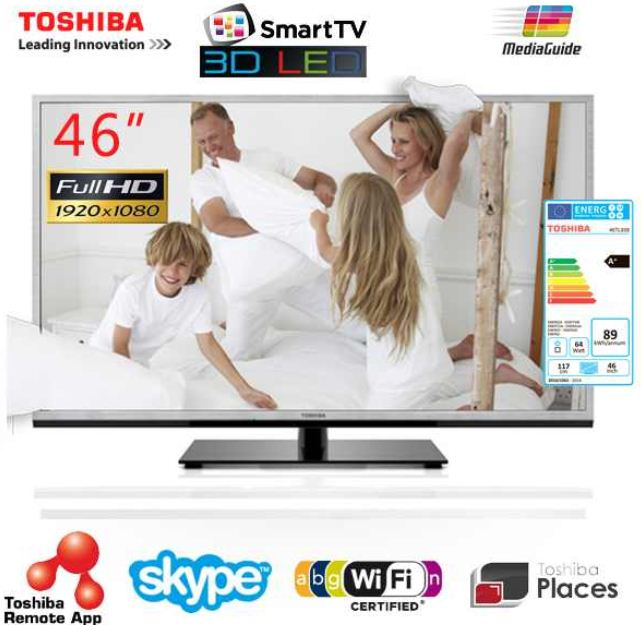 [iBOOD] 46Zoll 3D TV: Toshiba, Smart TV mit WiFi, inkl. Versand 608,90€ (Vergleich 688€)