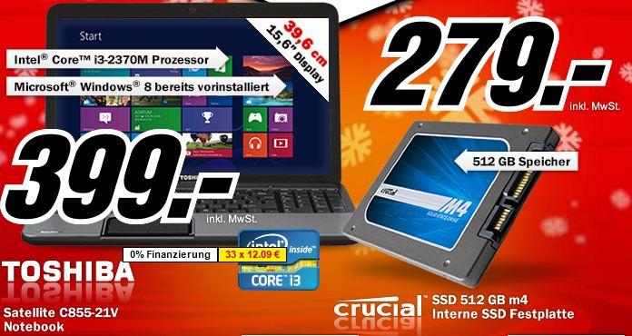 [MediaMarkt] Nur diese Nacht! 512GB SSD Crucial M4 für 279€ & 15,6 Toshiba Notebook C855 21V für 399€!