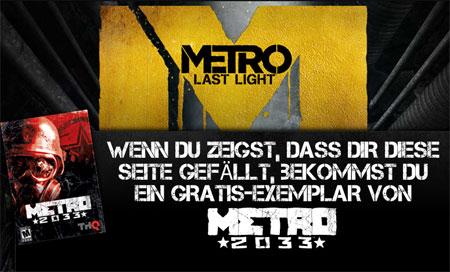 [Kostenlos!] Metro 2033 (PC) für Facebook Like bei THQ