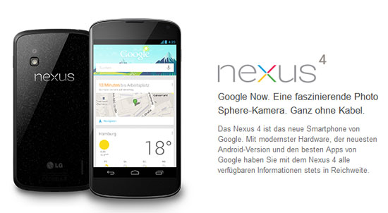 [Google Play Store] Update! Google Nexus 4 für 299€ inkl. Versand