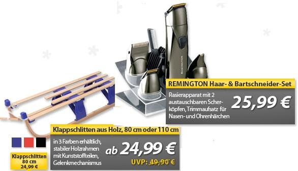 OHA Deals! (Holz Klappschlitten & REMINGTON Haar  & Bartschneider Set)