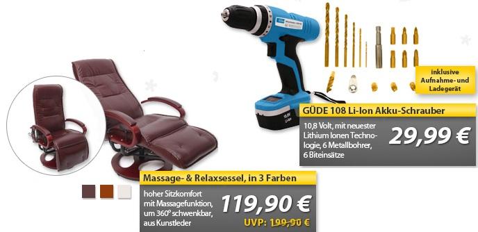 OHA Deals! (Massage  Relaxsessel & GÜDE 108 Li Ion Akku Schrauber mit Bit + Bohrer Set)