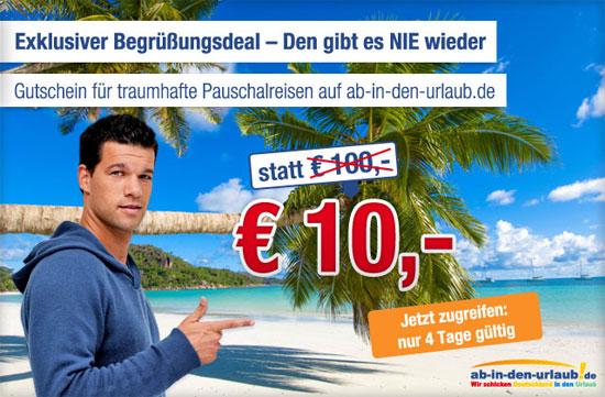 [ab in den urlaub] 100€ Gutschein für 10€