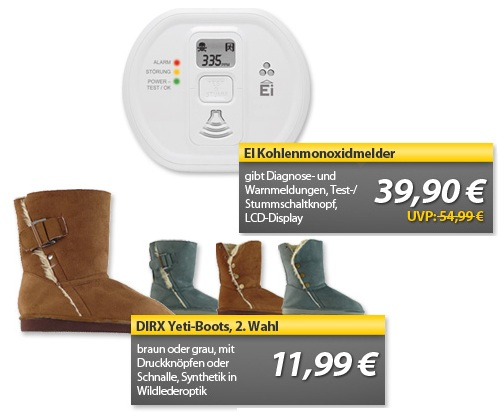 OHA Deals! (EI Kohlenmonoxidmelder & DIRX Yeti Boots (2. Wahl))