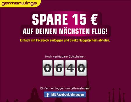 [Germanwings] 15€ Gutschein über Facebook