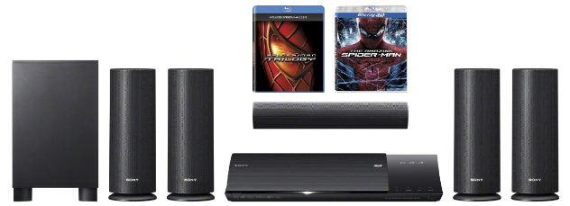 [Amazon] 5.1 DVD/Blu ray Heimkinosystem: Sony inkl. Blu rays The Amazing Spider Man und Spider Man 1 3 und Versand 299€
