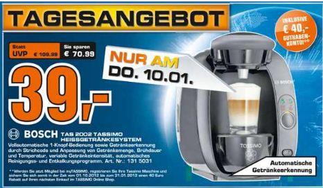 [Saturn] Tassimo Maschine: BOSCH TAS2002 für 39€ (+ 40€) Gutschein und ext. 2.5 Festpl. (USB3 500GB) 39€!