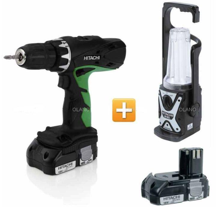 [ebay Wow] Akku Schlagbohr Maschine: HITACHI DV18DCL2 + 2ter Akku + Neon Lampe inkl. Versand 149€